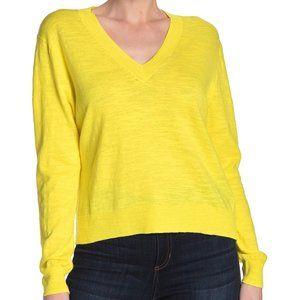 J CREW Slub Knit V-Neck Sweater Yellow L NWOT